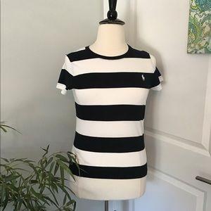 RALPH LAUREN SPORT black & white bold striped tee